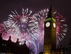 The Clock Tower (Elizabeth Tower), Portcullis House & The London Eye - during last night's NYE fireworks 2013.