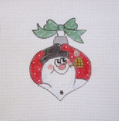 Frosty Snowman Christmas Ball Ornament  Handpainted Needlepoint Canvas #Unbranded