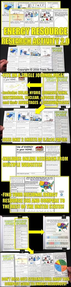 This is a great activity for students to interact with technology by using the internet to research the seven different energy resources. Once they have found accurate information, students will use these pages to replicate the information they've found. Two extra activites are included in this foldable. One of them is online, the other is for at home!