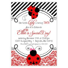 Ladybug Invitation - Red Damask and Black Stripes, with Cute Little Ladybugs Personalized Birthday Party Invite - a Digital Printable File on Etsy, $15.00