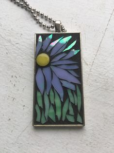 """Excited to share this item from my shop: Stained Glass Mosaic Flower Pendant Necklace x Rectangle Bezel"""" Sparkling Blue Irridescent Ball chain Excited to share thi Mosaic Art, Mosaic Glass, Stained Glass, Glass Art, Mosaic Rocks, Mosaic Crafts, Resin Crafts, Mosaic Designs, Mosaic Ideas"""