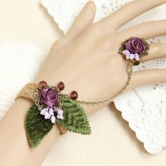 Amazon.com: Fresh Handcrafted Elegant Charm Bracelet Ring Set Party Wrist Corsages Ring Set Cosplay Evening Party Decorations Halloween Gift...