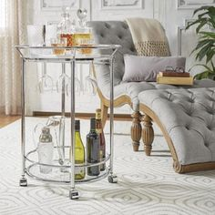 Metropolitan Rose Gold Metal Mobile Bar Cart with Black Glass Top by INSPIRE Q | Overstock.com Shopping - The Best Deals on Bars
