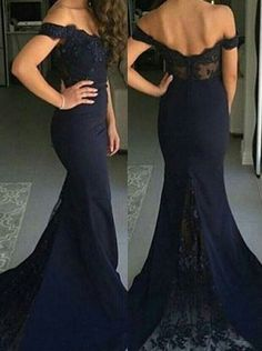 Mermaid Dark Blue Off Shoulder Floor Length Satin Prom Dress