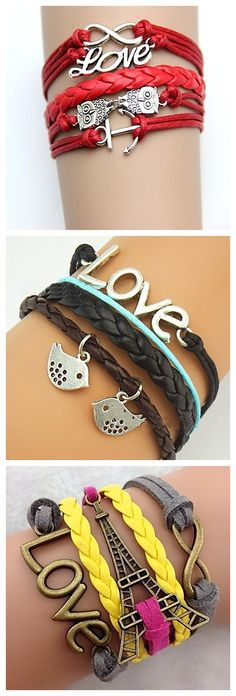 Love-themed bracelets. We have birds, owls and even an Eiffel Tower. Beautiful and romantic!