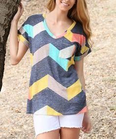 Love this Charcoal Chevron V-Neck Top by flamingo on #zulily! #zulilyfinds