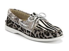 7ab5764132c Sperry Women s A O 2 Eye Shoes Black White Multi Animal on Sale Sperry