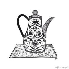 #inktober Day 28 - a coffee pot for all you coffee lovers out there! I hardly ever drink coffee but I have a few coffee pots like this (but I use them as tea pots!! ) #inktober2015 #illustration #ink #drawing #coffee #kitchen #florawaycott