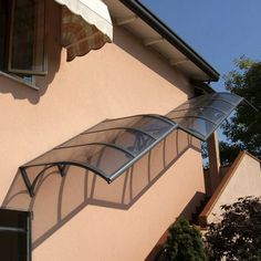 Find out all of the information about the VITRUM MIONI product: door canopy / for windows / for exterior staircases / aluminum CLASSICA. Stairs Canopy, Door Canopy, Staircase Outdoor, Christmas Stairs Decorations, Outside Stairs, Cantilever Stairs, Pergola, Covered Walkway, Building Stairs