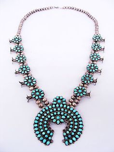 Vintage Native American Navajo vintage Navajo Sterling Silver Turquoise Squash Blossom Necklace