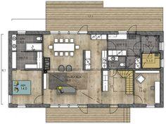 """Tykätään tässä pohjassa: """"master bedroom + walkthrough closet + bathroom"""" -kokonaisuudesta ajatuksena (ei toki tarvitse olla juuri noin toteutettu :)) ja keittiö+ olohuone -kokonaisuudesta (LATO 189 - Kannustalo) Ground Floor, My Dream Home, Home Interior Design, Future House, House Plans, Sweet Home, Master Bedroom, Floor Plans, Room Decor"""