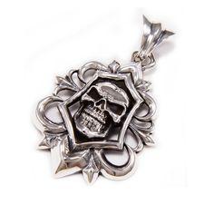 Skull/Fleur De Lis/925 Sterling Silver Pendant/Gothic Pendant/Biker Jewelry/Emblem/Necklace/Rocker/Men's/Women's/Charm cs-014 Skull Pendant, Silver Pendant Necklace, Sterling Silver Pendants, Infinity Cross Necklaces, Gothic, Silver Skull Ring, Biker, Jewelry, Sketch