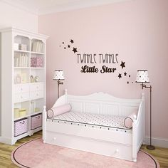 """Twinkle Twinkle Little Star - Wall Words - Removable Wall Decal """"Twinkle Twinkle Little Star."""" Available in two sizes: W: 34in x H: 14in W: 54in x H: 24in • Easy Installation and Removal • Re-Position"""