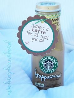 Thanks A Latte {Thank You Gift with Free Printable} {Great for Teacher Appreciat