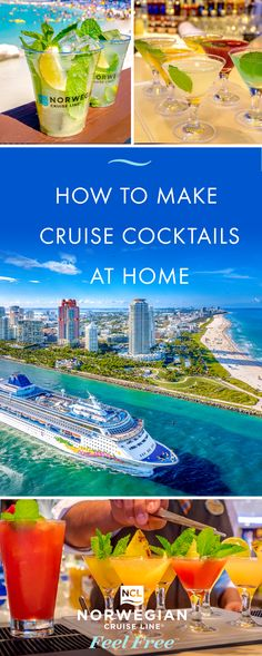 Feel like sippin' on sunshine? From tropical, fruit cocktails of The Caribbean to crisp and refreshing European classics, discover how to make these delicious cruise cocktails at home. Liquor Drinks, Dessert Drinks, Cocktail Drinks, Cocktail Recipes, Alcoholic Drinks, Beverages, Happy Hour Drinks, Fancy Drinks, Refreshing Drinks
