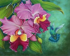 Green Violet Eared Humming Bird by Tim Marsh  ~ 12 inches x 15 inches