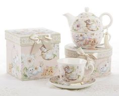 Playful Kittens Gift Boxed Teacup and Saucer