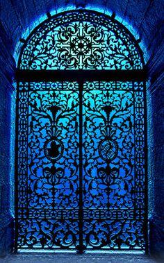 Ornate door. Blue.