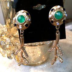 NEW Green Blue Pave Crystal Drop Dangle Earrings Beach Coral Pierced Gold Tone  #DropDangle