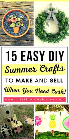 Is money tight? Here are 15 DIY Summer crafts you can make and sell for profit. Diy Projects To Make And Sell, Cool Diy Projects, Diy Crafts To Sell, Handmade Crafts, Summer Diy, Summer Crafts, Clever Diy, Easy Diy, Dyi