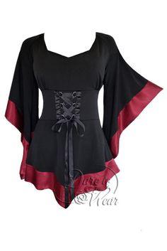 4fb1a75de2a19 Dare To Wear Victorian Gothic Boho Women s Plus Size Treasure Corset Top in  Burgundy ~ Tunics ~ Women s Fashion Magazine - Official Site