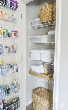 Organized Bathroom Linen Closet Anyone Can Have - Elfa door system with medicine storage solution Have a closet with wire shelving? No problem! From towels to toiletries and medicine, read on for an organized bathroom linen closet anyone can have. Linen Closet Organization, Organization Hacks, Organizing Ideas, Closet Storage Solutions, Kitchen Organization, Linen Closet Shelving, Organizing Small Closets, Organization Ideas For The Home, Elfa Closet System