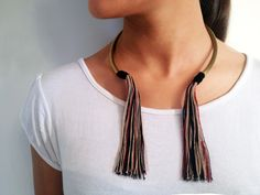 Boho bronze Tassel Necklace Boho Tassel Choker by MERCeJewelry