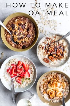 This is a guide for how to make oatmeal on the stovetop and in the microwave, plus four ways to customize. It's a heart-healthy easy staple breakfast recipe the whole family will love! | #oatmealrecipes #howtomakeoatmeal #oatmeal #breakfast #healthy #feelgoodfoodie via @feelgoodfoodie1