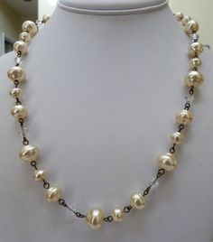 SWEET ROMANCE USA LUSTROUS FAUX BAROQUE PEARL CRYSTAL BEAD LINK NECKLACE