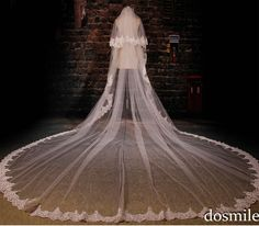 Two layers Cheap Luxury Bridal Mantilla Free Comb velo de novia Lace Edge Purfles White/ Ivory Cathedral Wedding Veils