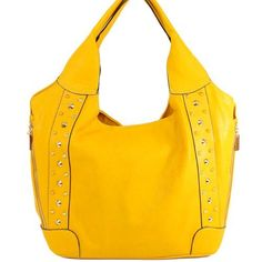 Amazon.com: New Arrival Characterful Individual Fashion Golden Spike Studded Two Line Zipper Embellishment Solid Simple Color Tote Hobo Shoulder Handbag in Mustard Yellow: Clothing $42.99