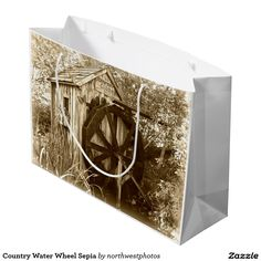 Country Water Wheel Sepia Large Gift Bag