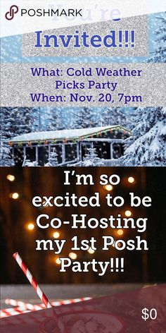 "Posh Party Time!!! I'm so excited to be Co-Hosting the Cold Weather Picks Party! ❄️🧣🎄☃️  This will be my first Posh Party, so let's share, share, share! ⭐️🙌🏽  Would you like to be considered for a Host Pick? 🥂  Simply: 1. ""Like"" this post 👍🏽 2. ""Share"" this post 🎉 3. ""Comment"" below & introduce yourself! 💙 4. PLEASE make sure that your closet is Posh compliant! ✅ 5. Share to the party!!! 🎁                                 So excited for tonight!!! Let's get ready to Party...Posh…"