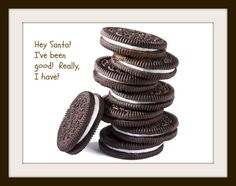 """CHRISTMAS FACT #43!! Do you know what the most popular snack is that is let for Santa? It is an Oreo! This could be due to the fact that over 9.1 billion Oreos are sold each year! There is no real date recorded, but it is believed that the tradition of leaving a snack for Santa started sometime in the 1930's. Children who have been """"naughty"""" leave them as a last minute bribe for Santa. Where children who are """"nice"""" leave them as a way of thanking Santa for all of his hard work on Christmas…"""