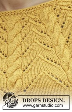 Early Autumn / DROPS - Knitted DROPS jumper with A-line, round pass, cables and . Drops Patterns, Lace Patterns, Stitch Patterns, Boys Knitting Patterns Free, Ladies Cardigan Knitting Patterns, Knitting Stiches, Lace Knitting, Knit Crochet, Drops Design