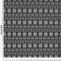 Fashion Knits - Jacquard Nortic on Black Ponte Knit Fabric