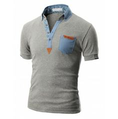 Doublju Mens Polo Short Sleeve T-shirt Camisa Polo, Mens Polo T Shirts, Stylish Mens Outfits, My T Shirt, Shirt Men, Men Design, Golf Outfit, Shirt Style, Casual Shirts