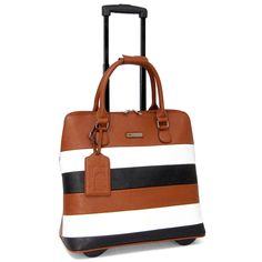 Striped briefcase on wheels. airplane carry-on size
