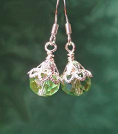 Green & silver Victorian Earrings Edwardian by BulletsBeadsBaubles