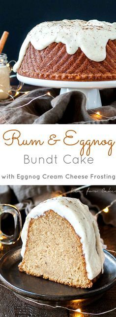 Your favourite holiday beverages in one delicious cake! The perfect mix of nice and naughty in this festive Rum & Eggnog Bundt. Holiday Desserts, Holiday Baking, Christmas Baking, Just Desserts, Delicious Desserts, Holiday Drinks, Christmas Recipes, Eggnog Cake, Eggnog Recipe