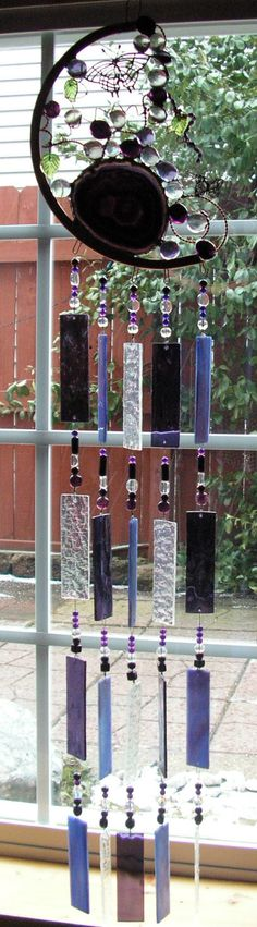 Copper and Stained Glass Windchime with Purple Agate and Butterflys on Etsy, $150.00