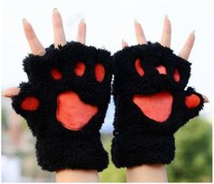 Mileegirl Ladies Winter Fingerless Gloves,Fluffy Bear Cat Plush Paw Claw Half Finger Glove,Half Cover Women Female Gloves Mitten