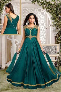 Sea Green Satin Readymade Long Anarkali Suit 70324