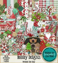 Holiday Delights Digital Scrapbook kit, Christmas Scrapbook, Santa scrapbook, Holiday scrapbook, holiday digital paper, Christmas digital paper, Christmas pattern paper