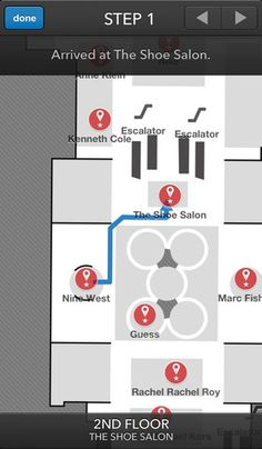 2012 Update: Macys, Herald Square NYC: Offers indoor navigation function that enable customers to receive in-store directions