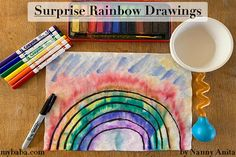 Surprise Rainbow Drawings | Nanny Anita | My Baba Rainbow Crafts, Rainbow Art, Fun Activities To Do, Writing Activities, Rainbow Drawing, Rainbow Tattoos, Crafts For Kids, Arts And Crafts, Wonderful Picture