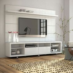Cabrini White Gloss TV Stand and Panel
