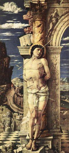 Andrea Mantegna (Isola di Cartura, about 1430/31 - Mantua, 1506)  St Sebastian  Oil on wood, 1457-1458  26 3/4 x 11 3/4 inches (68 x 30 cm)  Kunsthistorisches Museum, Vienna, Austria