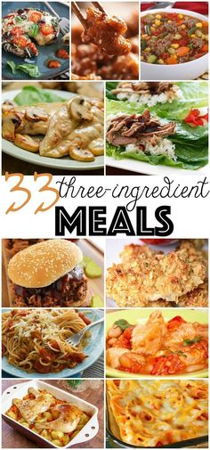 Fast and easy recipes with few ingredients for your simple lunches and dinners! These mouthwatering simple tasty recipes have simple ingredients! Save these 3 ingredient meals for dinner! Three Ingredient Recipes, 3 Ingredient Dinners, Find Recipes By Ingredients, Cooking Recipes, Healthy Recipes, Healthy Meals, Crockpot Recipes, Frugal Meals, Freezer Meals