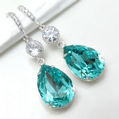 Teal Blue Earrings Swarovski Crystal Light Turquoise Earrings Bridal Earrings Teardrop Earrings Something Blue Bridesmaid Gift Tiffany Blue via Etsy
